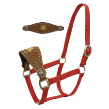 Western Red Nylon Bronc Halter with Brass Hardware&Hand Carving