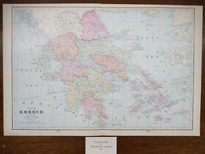 "Vintage 1903 GREECE Map 22""x14"" Old Antique Original ANDROS HYDRA ITHACA ZANTE"
