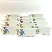VINTAGE 12 Pc PORCELAIN FLOWER PLACE CARDS Andrea By Sadek JAPAN 2 Boxes Write