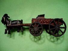 Vintage CAST IRON Express Wagon w/ GOAT. 100% steel / split center. Great patina