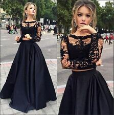 new Long Sleeve Evening Dresses Two Piece Black Party Prom Bridal Cocktail Gowns