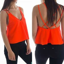 The Fifth Label Orange Cross Back Cropped Top Size S Retail €139