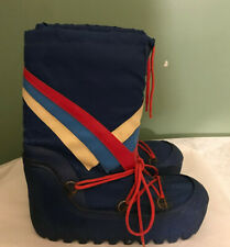 Vintage 1970s Red White Blue Stripe Snow Winter Moon Boots Womens size 8/8.5