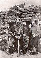 Pioneer family kids log cabin snow axe pipe 1903 AK? WA? Canada? rustic photo