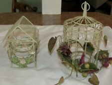 Lot 2 Shabby Chic Candle Holder Bird House Metal Wire Birdhouse Tea Light Votive