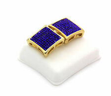 Men 14K Gold Plated Iced Out Blue Cz Dome Kite Earrings 10 Row Micro Pave HipHop