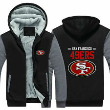 San Francisco 49ers Hoodie Winter Fleece Sweatshirt Full-Zip Coat Warm Jacket