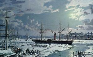 "John Stobart Print - Boston: RMS ""Britannia"" Departing the Icebound Harbour 1844"