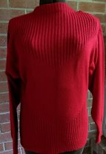 Vintage Anne Klein Knit Red Wool Blend Sweater Size Medium Sz S-M Made in Italy