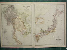 1882 LARGE ANTIQUE MAP ~ BURMAH SIAM & ANAM ~ JAPAN NIPPON YESSO YEDDO BAY
