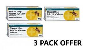 3 x Hydrocortison 1% w/w anti itch - eczema, psoriasis, bite sting relief cream