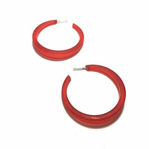 Cherry Red Phoenix Frosted Vintage Lucite Tapered Hoop Earrings
