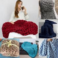 Chunky Knitted Thick Blanket Winter Warm Hand Yarn Merino Bulky Throw Sofa Knit