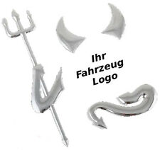 3D Teufel Silber, Chrom Aufkleber, Devil Sticker Emblem VW BMW MERCEDES OPEL