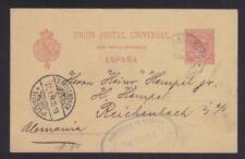 SPAIN 1896 10c POSTAL STATIONERY CARD VILLA GARCIA PONTEVEDRA TO GERMANY
