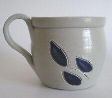 Salt Glaze Cup Handpainted Colbalt Blue Gray Grey Williamsburg Stoneware Handle