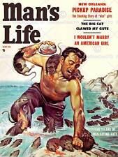 Revista Man's Life Hombre comiendo ratas isla ficción impresión de arte poster BB8086