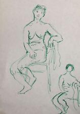 Vintage ink painting nudes portrait