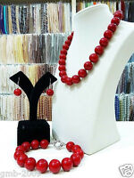 Pretty 8mm Coral Red South Sea Shell Pearl Necklace Bracelet Earrings A Set AAA