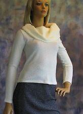 FOREVER 21 Boucle Knit Turtleneck Cowl Neck Sweater Sz L Jr Cotton Blend Solid