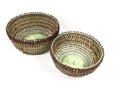 Vintage Basket Glass Bead Nesting Set Metal Wire India Planter Bread Fruit Bowl