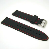 22mm Stitched Silicone Rubber Watch Band White Red Orange Blue Stitching Strap