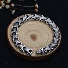 "Solid 925 Sterling Silver Mens Heavy Goat Snake Chain Cuff Bracelet 21.5cm 8.46"""