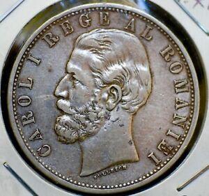Romania 5 Lei Silver Crown Carol I 1882-B  XF  BETTER DATE