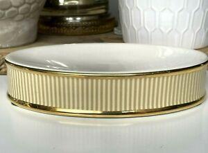 Vintage VERATEX Ceramic Soap Dish White Gold Stripe