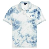 Polo Ralph Lauren Tie Dye Custom Slim Fit Mesh Polo Shirt Indigo NWT Men's L