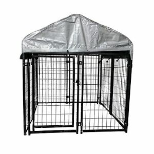 ALEKO Dog Kennel 4 x 4 x 4.5 ft Chain Link Pet Exercise Fence with Roof,Fabric