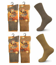 4 Pack Men's Warm Thermal Merino Wool Winter Socks- Beige & Cedar Brown