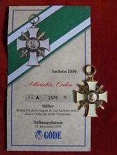 GÖDE Orden Sachsen 1850 - Albrechts Orden + Zertifikat Nr.2570
