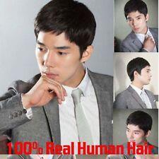 Men 100% Real Natural Human Hair black Short Wigs Hairpiece Toupee wig