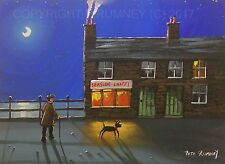 Pete Rumney Art Original Canvas Painting Fish N Chip Shop Chippy Seaside Moon