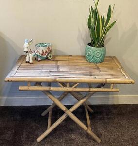 Mcm tiki vintage boho retro bamboo desk console table folding