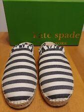 Kate Spade Black and Cream Striped Espadrille Flat Laila Mule NIB Size 10