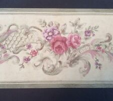 "Floral Flower Wallpaper Border 8"" X 5 Yards Pink Purple Gray Patina 1930s Patina"
