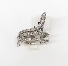 14K White Gold Snake Cocktail Diamond Ring, Dia 0.83 CT