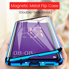For Huawei Nova 5T 360° Protect Magnetic Metal Bumper Tempered Glass Case Cover