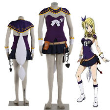 New Product Fairy Tail Lucy Heartfilia Cosplay Costume Purple Suit Accessories