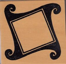 """curly frame hot potatoes Wood Mounted Rubber Stamp  3 1/2x 3""""  Free Shipping"""