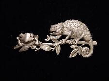 """""""JJ"""" Jonette Jewelry Silver Pewter 'LIZARD & Frog on Branch' Pin"""