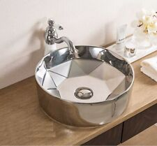 Bathroom Cloakroom Ceramic Vanity Counter Top Wash Basin Sink Washing Bowl Silve