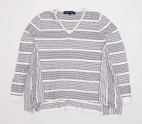French Connection Womens Size M Striped Cotton Blend White Top (Regular)