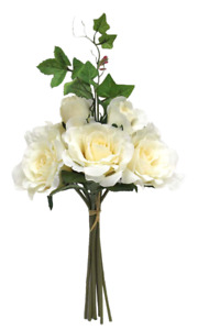 Artificial Ivory Rose Flowers with Foliage