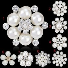 Any 2pcs rhinestone crystal pearl bridal bouquet brooch pin wedding party