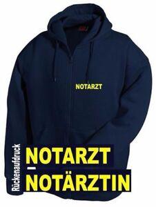 Notarzt / Notärztin Kapuzen Sweat Jacke - Brust- + Rückenaufdruck*