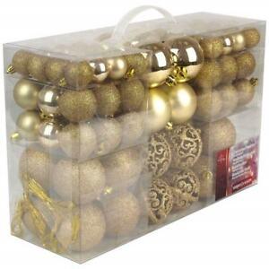 Palle Di Natale 100 Palline Color Oro Diverse Misure Decorazioni Albero Natale