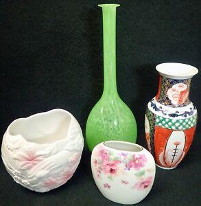 lot of vintage porcelain ceramic & art glass vases FTD Otagiri Hong Kong
